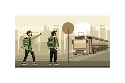 Wartebus an der Bushaltestelle