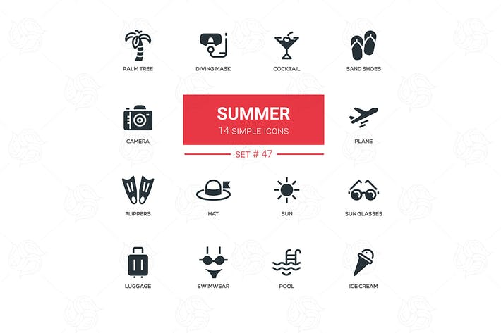 Thumbnail for Summer concept - line design icons set