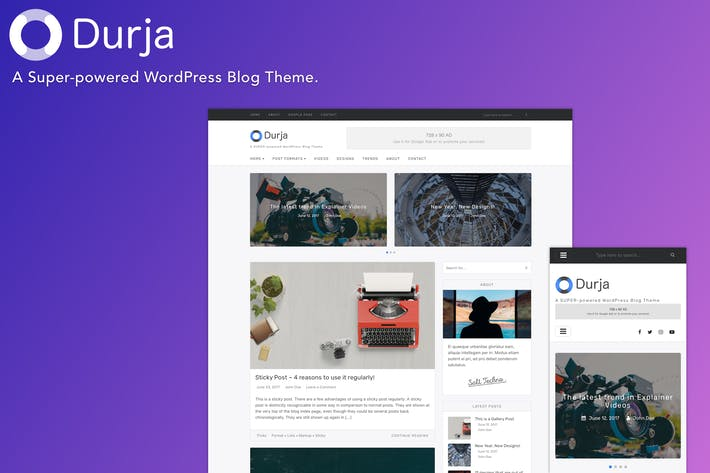 Thumbnail for Durja - A Responsive WordPress Blog Theme