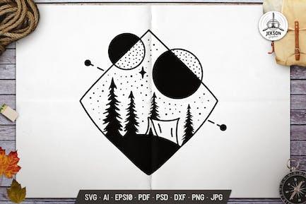 Camp Sacred Geometry Silhouette Design Line Badge