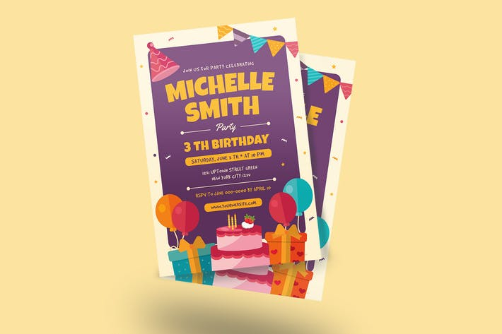 Thumbnail for Colorful Birthday Invitation