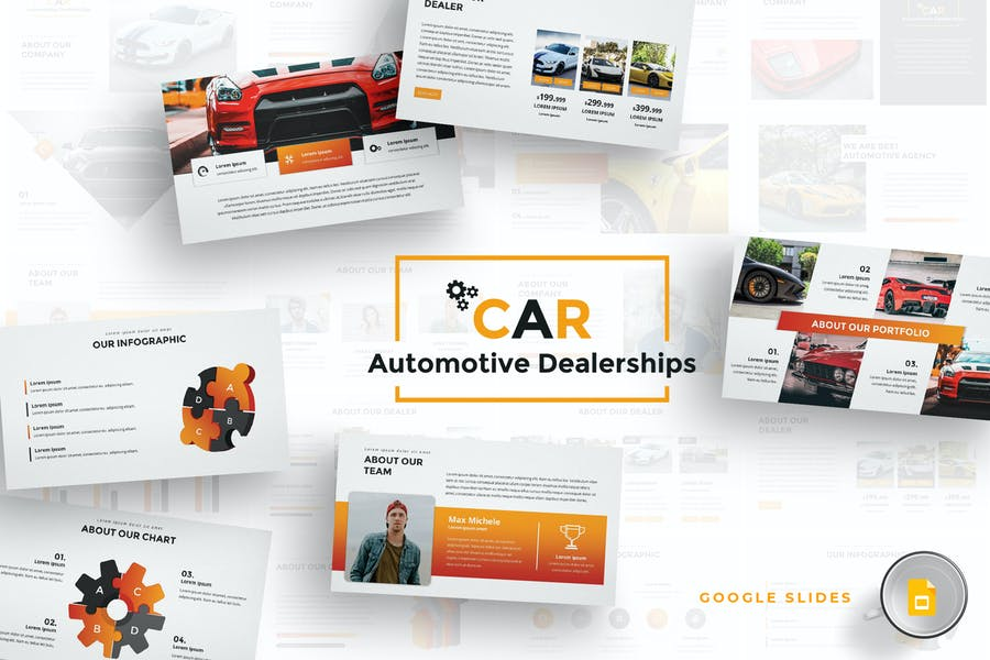 Autohändler Google Slides Vorlage