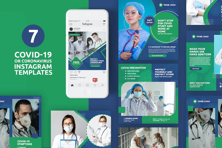 Thumbnail for Coronavirus or Covid-19 Instagram Templates