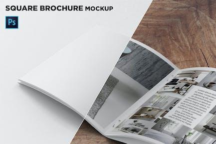 Square Brochure Mockup Closeup on Left Page