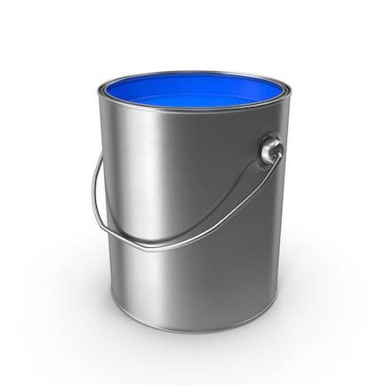 Lata de pintura metálica abierta azul