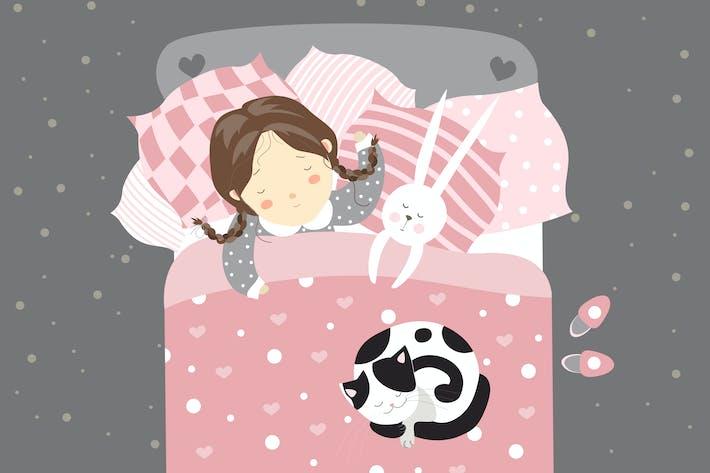 Thumbnail for Little girl sleeping with cat. vector illustration