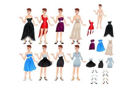 Weiblicher Avatar mit Kleidern und Schuhen
