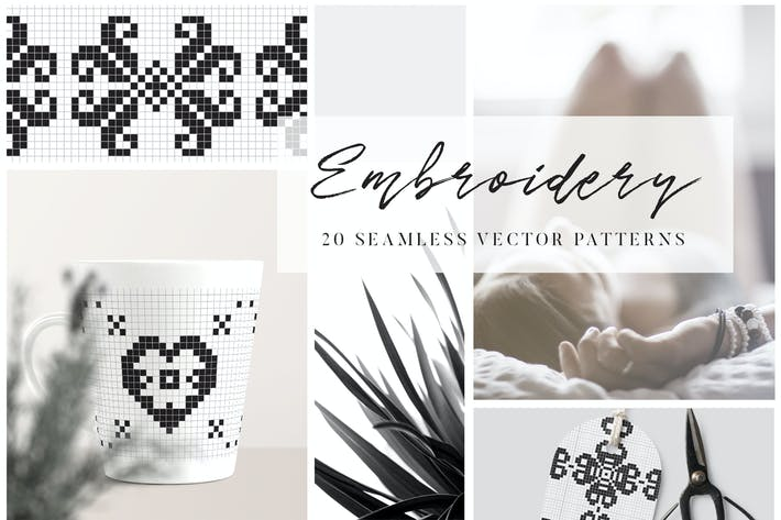 Thumbnail for Embroidery Style Vector Patterns