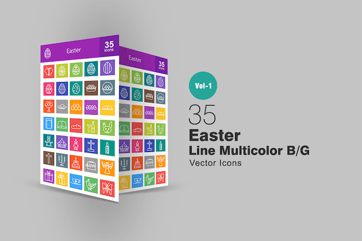Thumbnail for 35 Easter Line Multicolor Icons