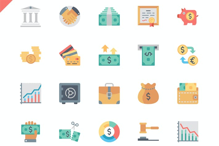 Thumbnail for Simple Set Finance Flat Icons