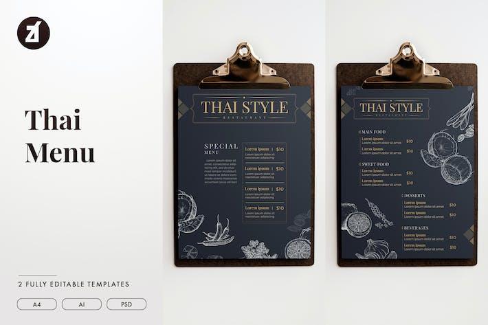 Thumbnail for Modèle de menu de style thaï