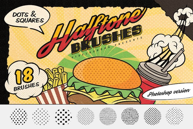 Dots & Squares Halftone Photoshop Brushes