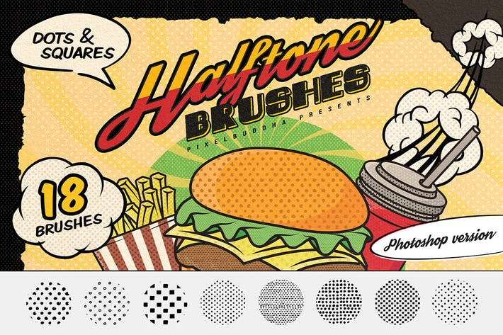 Thumbnail for Dots & Squares Halftone Photoshop Brushes