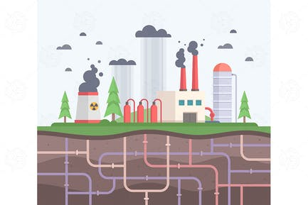 Factory with pipes - flat design illustration