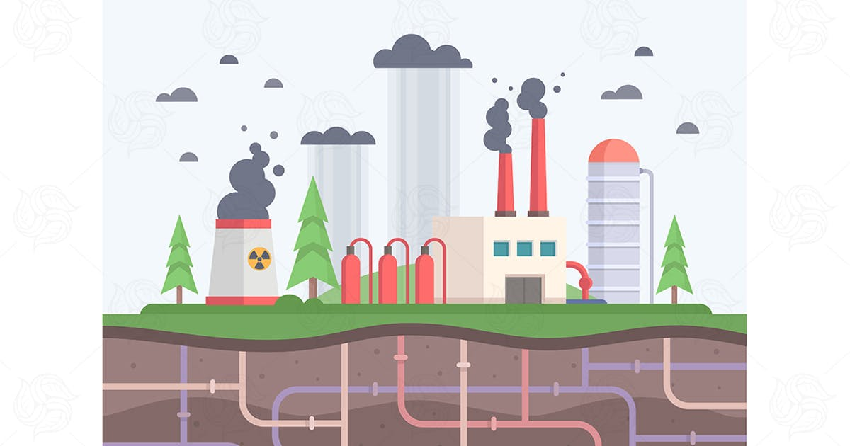 Download Factory with pipes - flat design illustration by BoykoPictures