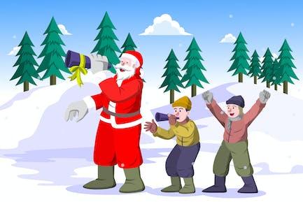 Weihnachtsmann und Kinder bläst die Trompete