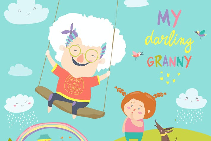 Old woman swinging on a baby swing. Vector