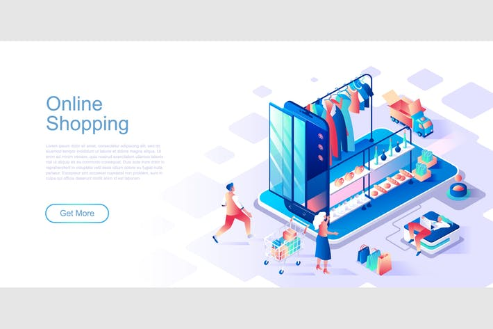 Thumbnail for Online Shopping Isometric Flat Concept Header