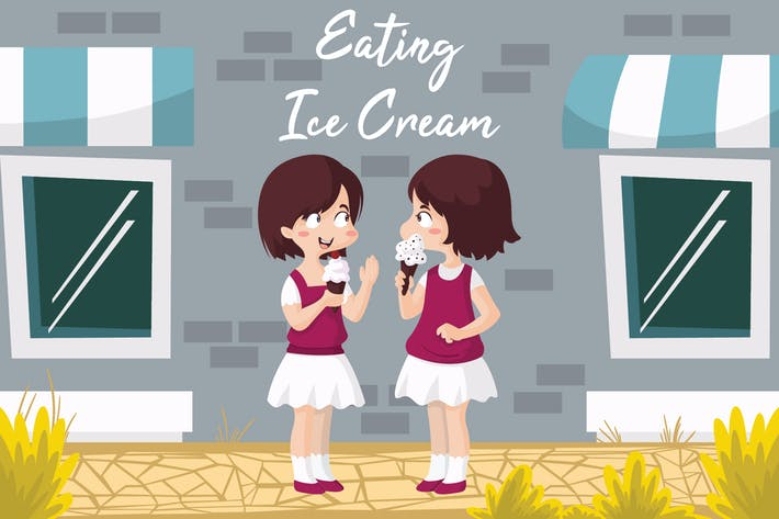 Thumbnail for Eating Ice Bestfriend - Vector Illustration