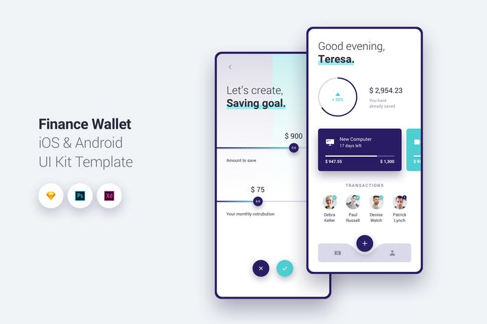 Thumbnail for Finance Wallet App iOS & Android UI Kit Template 1
