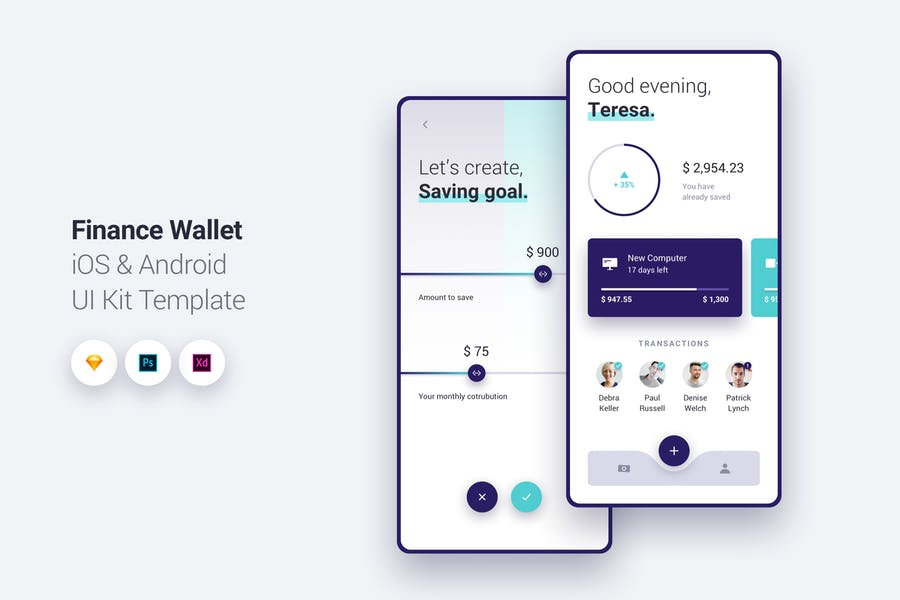 Finance Wallet App iOS & Android UI Kit Template 1