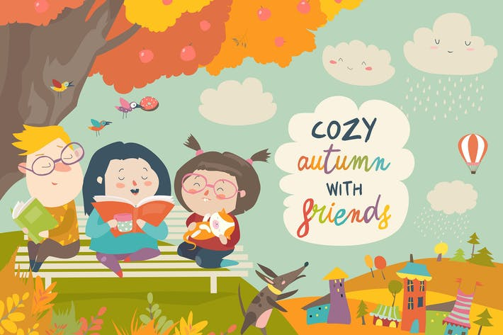 Thumbnail for Happy children reading books in autumn park.