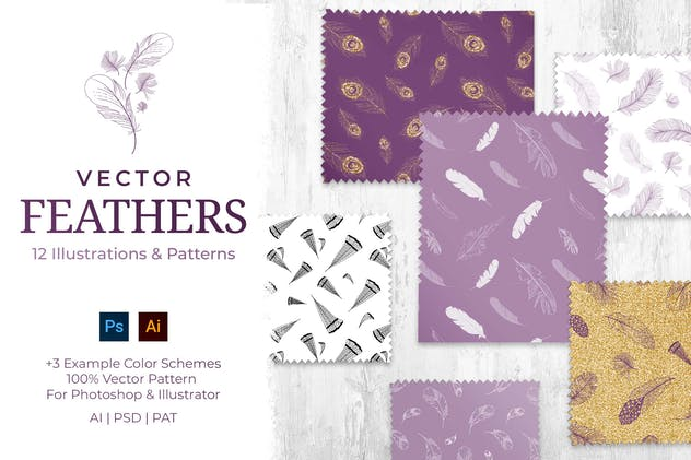 Feathers Vector Patterns Set