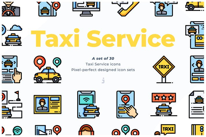 Cover Image For 30 Taxi Service Icons