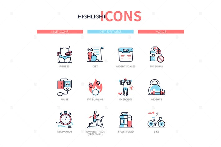 Thumbnail for Diet and fitness - line design style icons set