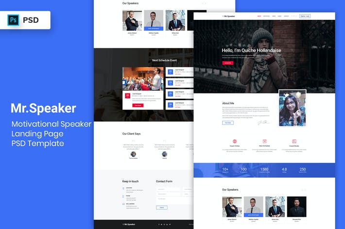 Thumbnail for Motivational Speaker - Landing Page PSD Template