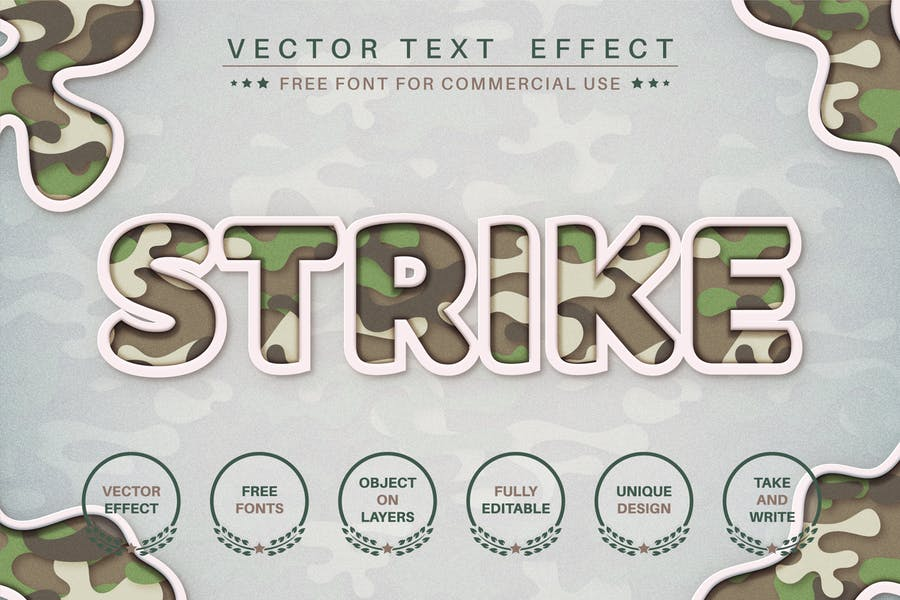 Military - editable text effect, font style