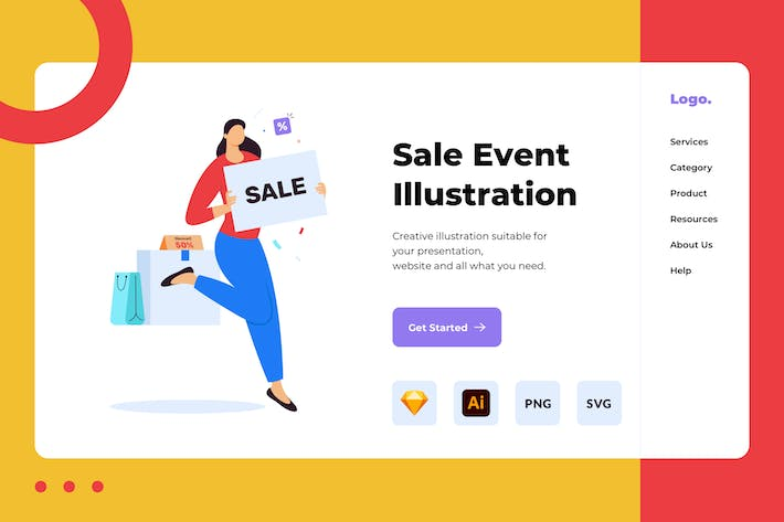 Thumbnail for Sale Event Landing Page Illustration