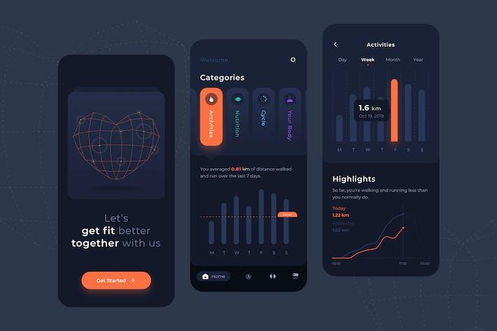 Health Activities Dark Mode UI - FD