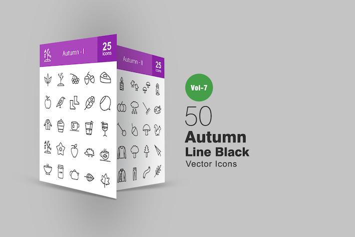 Thumbnail for 50 Autumn Line Icons
