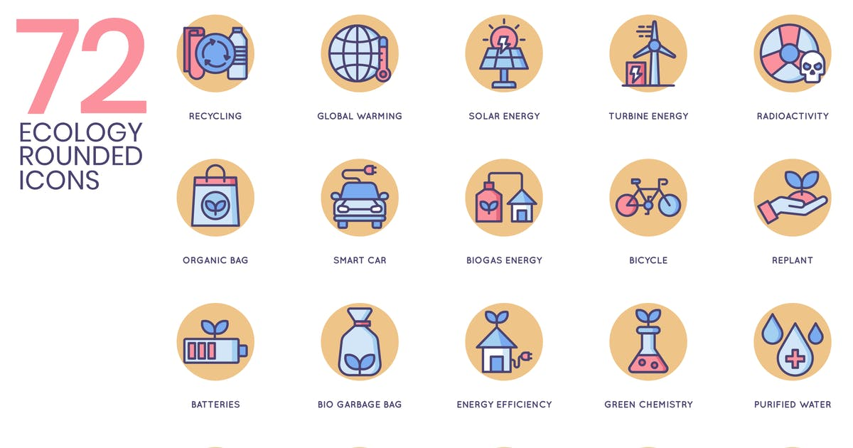 Download 72 Ecology Icons - Butterscotch Series by Krafted