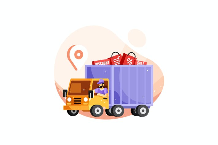 Thumbnail for Delivery Service Truck Vector Illustration