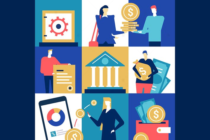 Thumbnail for Bank operations - flat design style illustration