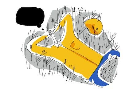 Relajándose en Grass. Ilustración mural