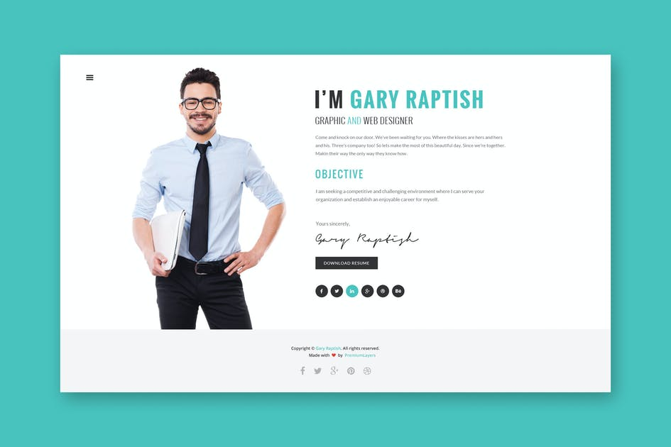 Download Raptish - Premium VCard/Resume PSD Template by PremiumLayers