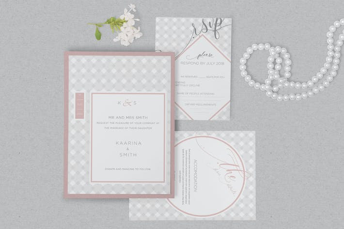 Thumbnail for Wedding Invitation Card PSD Mockups