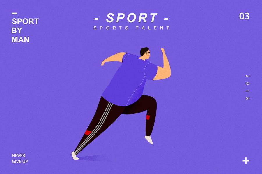 Sport by man-flat Illustration