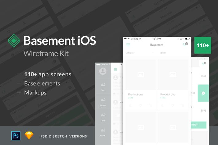 Thumbnail for Basement iOS Wireframe Kit