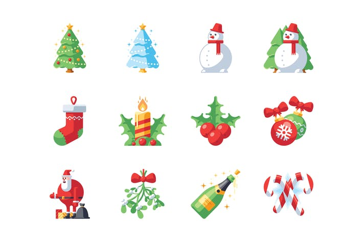 Thumbnail for Christmas and New Year icon set
