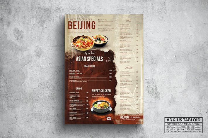 Thumbnail for Chinese Poster Food Menu - A3 & US Tabloid
