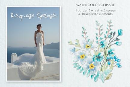 Turquoise Splash: Watercolor Clip Art Set