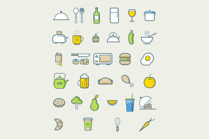 Thumbnail for Kitchen icons for cafe menu restaurant. Food icons