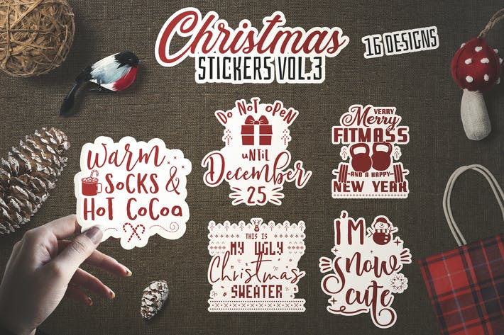 Thumbnail for Christmas Stickers Bundle Vector Clip Art. Vol 3