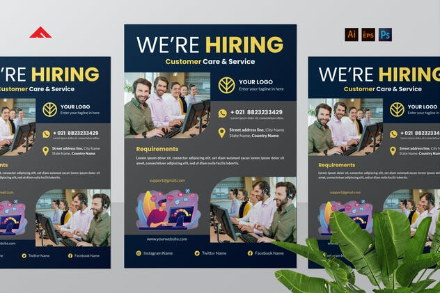 Customer Service Job Hiring Flyer Advertisement
