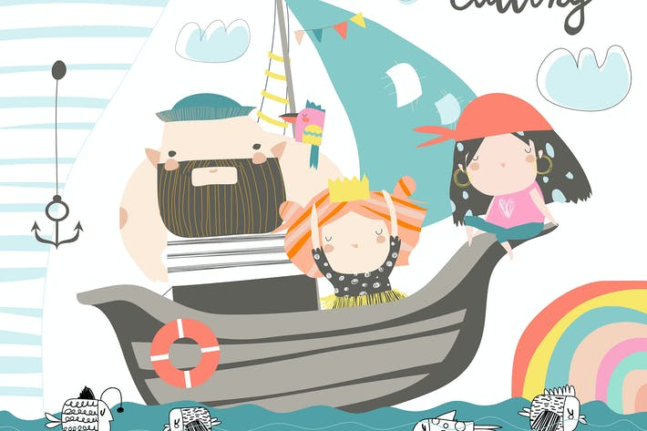 Cover Image For Cute dad and kids sailing at their ship. Vector