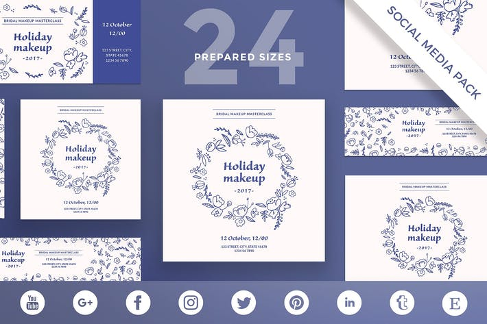 Thumbnail for Holiday Makeup Social Media Pack Template